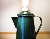 extraordinary green enamel pitcher lamp