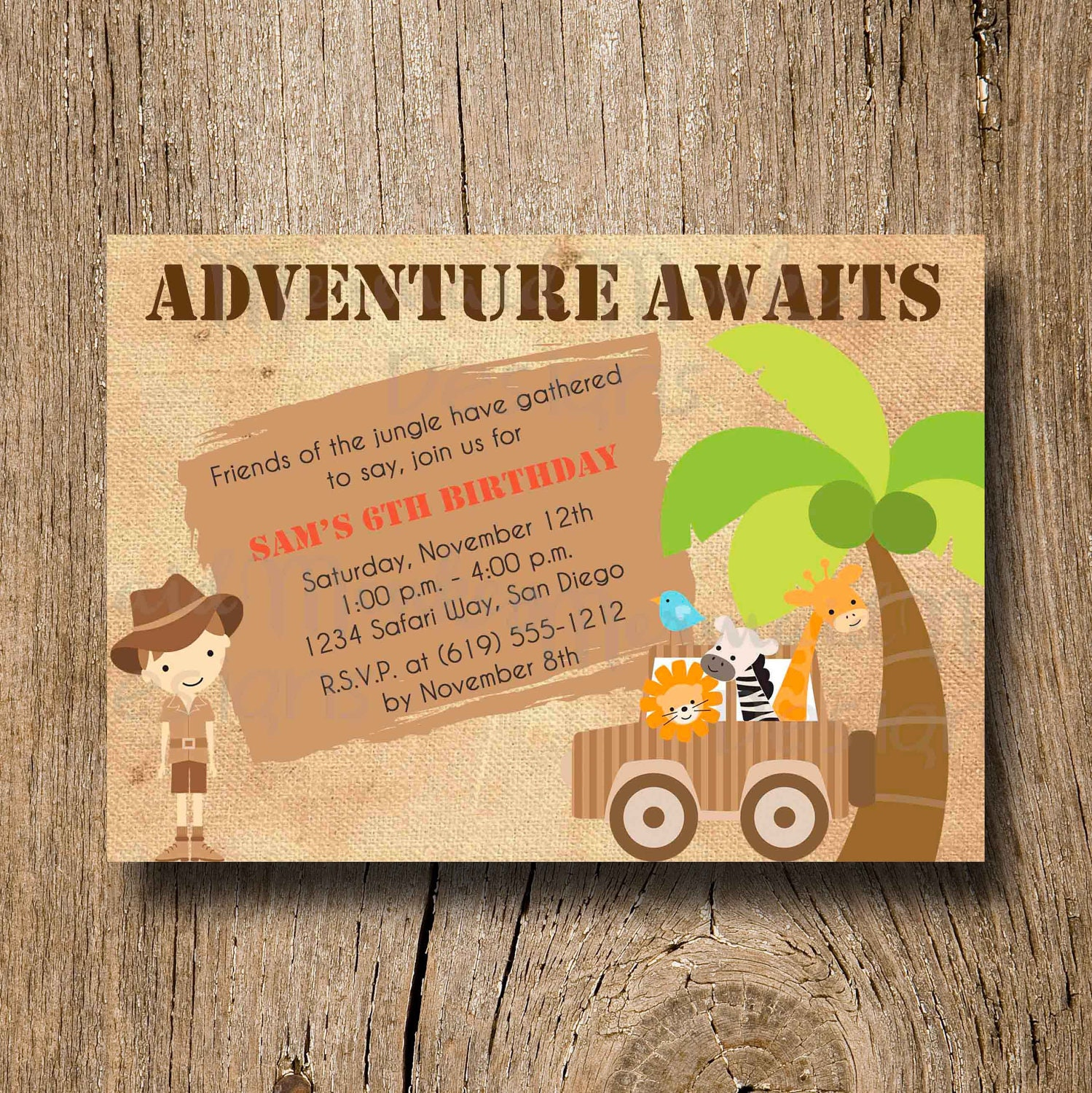 Jungle Safari Birthday Invitation Adventure Birthday