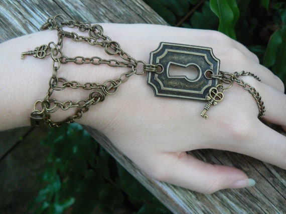 steampunk keyhole slave bracelet lock and key padlocks and chains in steampunk goth fantasy boho and style