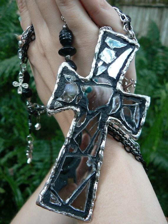 SALE Shattered mosaic mirror cross pendant necklace gothic gypsy boho hippie rocker glam style
