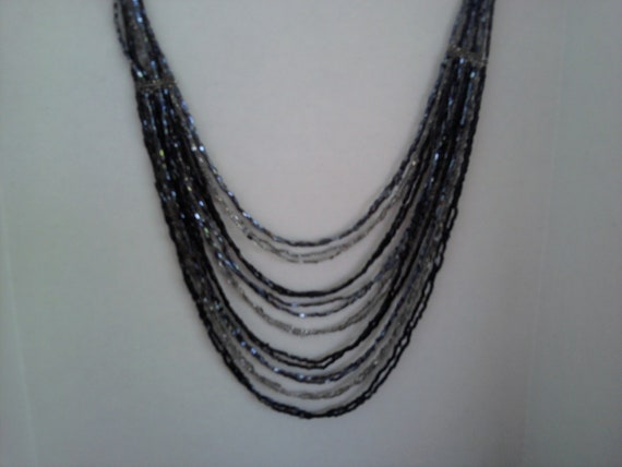 Multi strand Beaded necklace Black,Grey,Silver   Big and Bold