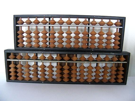Vintage Japan Wooden Abacus Pair