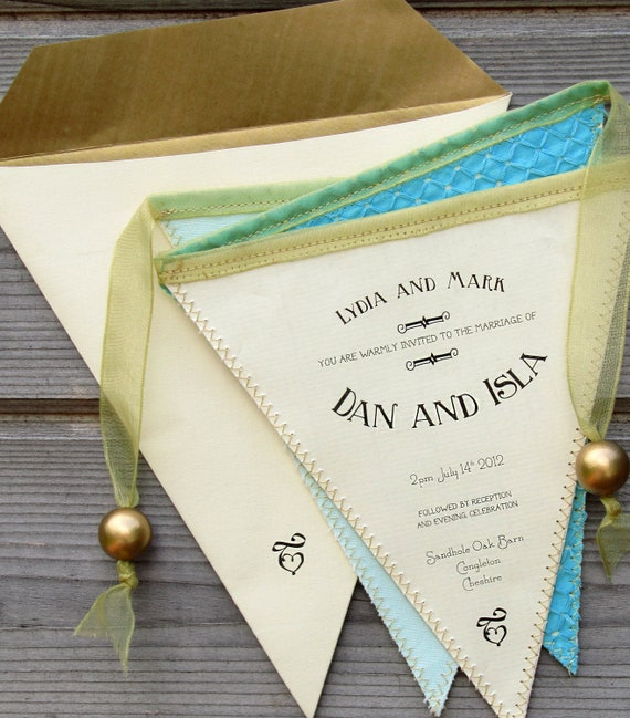 Bunting Wedding Invite: Bunting Wedding Invitation In Fabric And Paper By