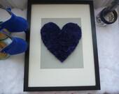 Handmade Royal Blue & Grey Chiffon Heart