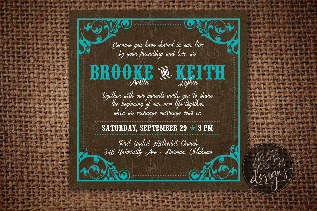 western wedding invitation by divinemrsemdesigns on etsy With western wedding invitations etsy
