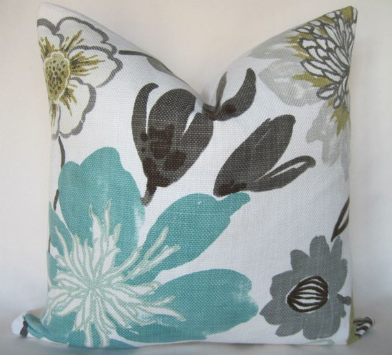 Pillow Cover Throw Pillow Gorgeous Pearl Floral Aqua