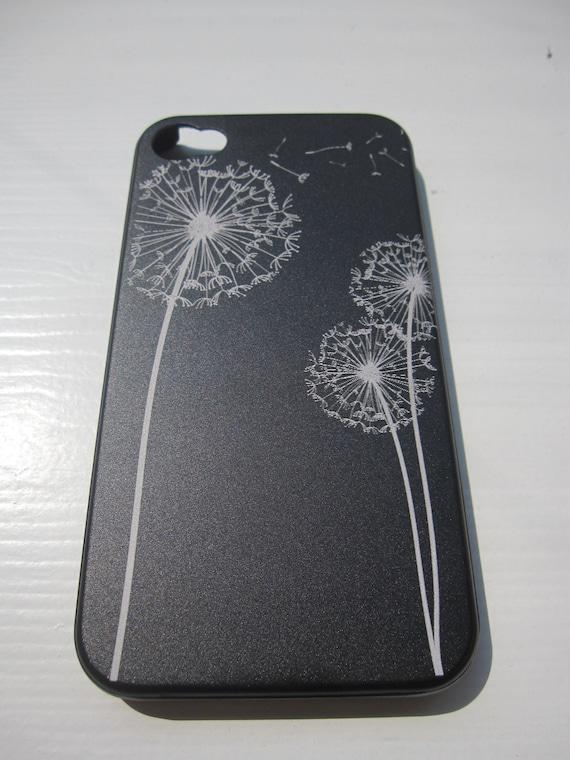 Iphone 4 / 4S case - Aluminium Iphone cover laser engraved - Dandelion