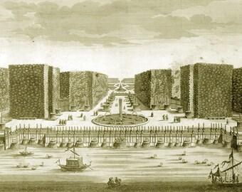 Vintage digital image  Paris, France, Château de Versailles