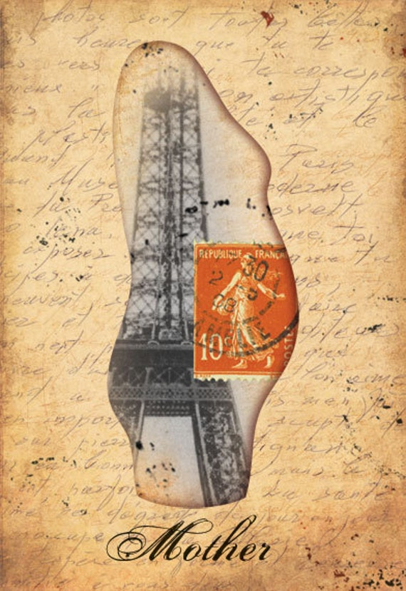Print at home art for moms to be - Pregnant mannequin with vintage / historical Paris ephemera