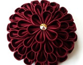 Kanzashi bordo fabric flower brooch in gift box.