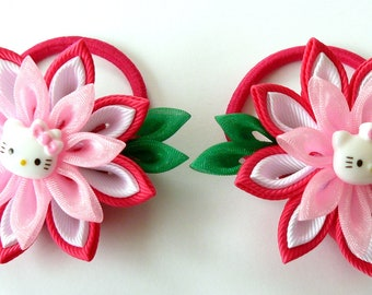 Kanzashi fabric flowers. Set of 2 ponytails . Pink, white and green.