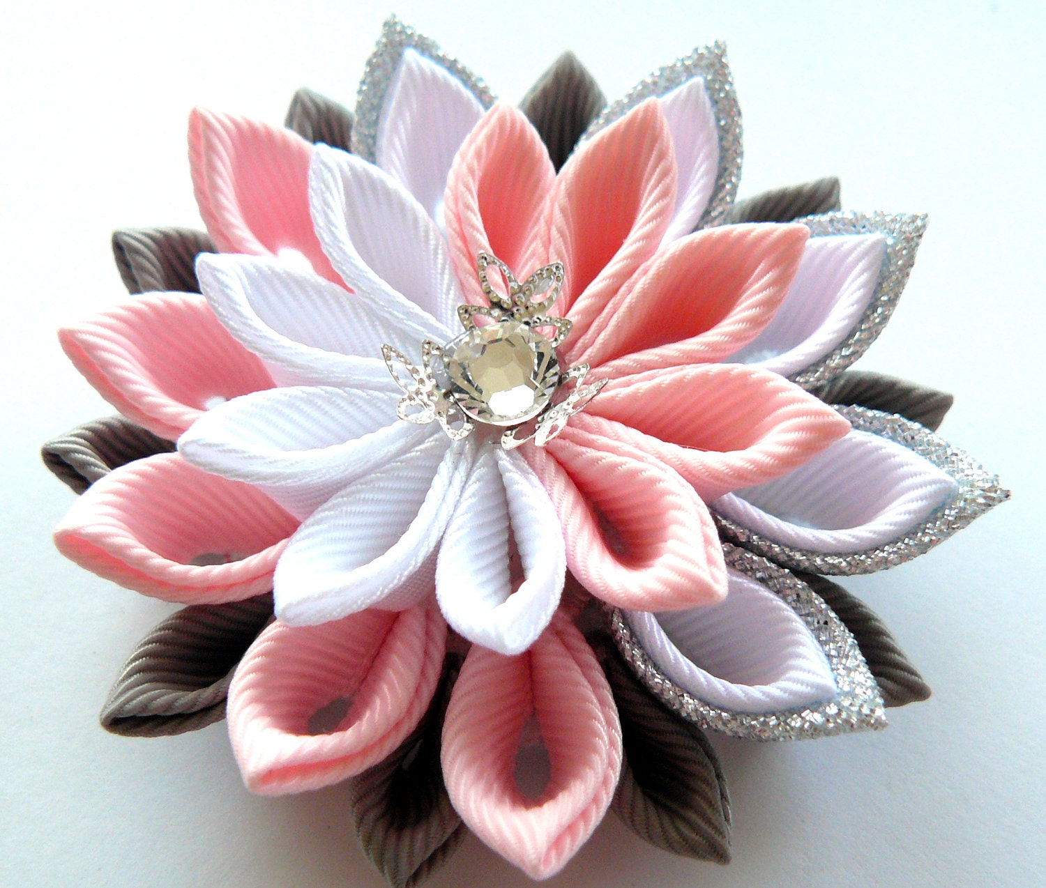 Kanzashi fabric flower brooch . Pink white grey and silver