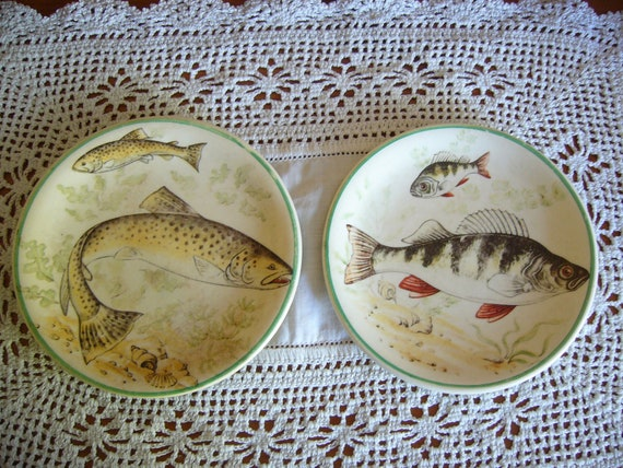 Pair of decorative mini plates showing fish - trout and perch