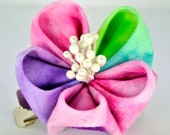 Rainbow tye dye batik fabric kanzashi hair flower clip with floral sprays