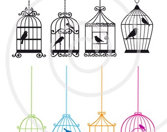 Birdcages with birds, digital clip art set, digital scrapbooking, home decoration, commercial use, PNG, EPS, SVG file, instant download