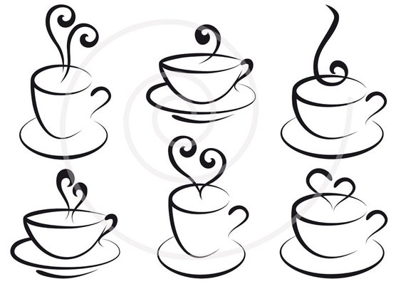 Coffee and tea cups with hearts, digital clipart, clip art, clip-art set, logo, graphic design, scrapbooking, vector, instant download