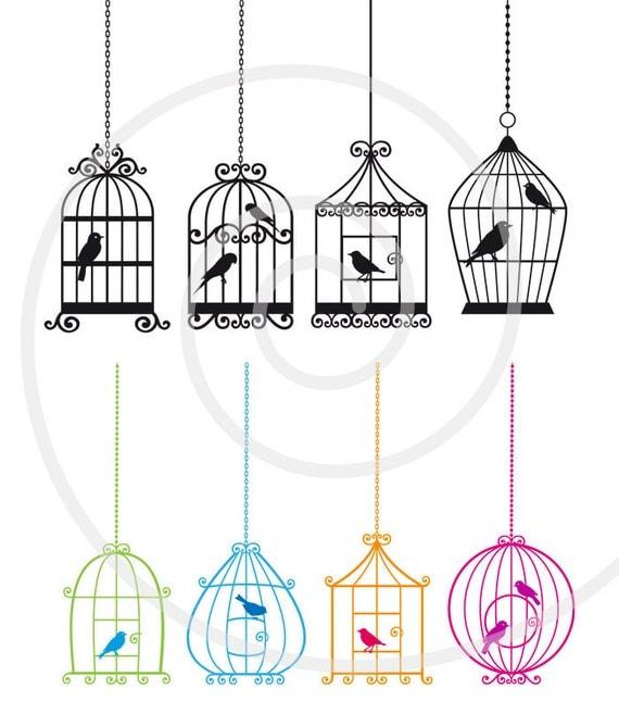 clip cute digital birdcages birds clipart housewarming instant decor cottage etsy