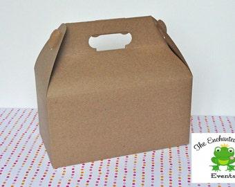 12 Brown Kraft Gable Box - Favor Box, Lunch Box, Picnic Box