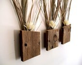 Set of 3 Rustic / Reclaimed / Barn Wood Wall Vase / Flower Sconce