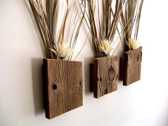 Set Of 3 Rustic Reclaimed Barn Wood Wall Vase Flower