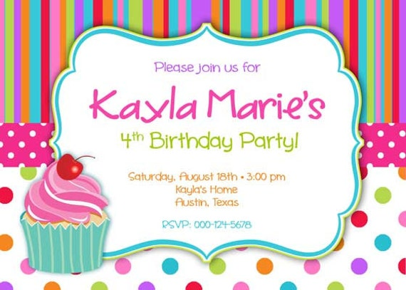Birthday Party Invitation Cupcake & Stipes for Girl DIY