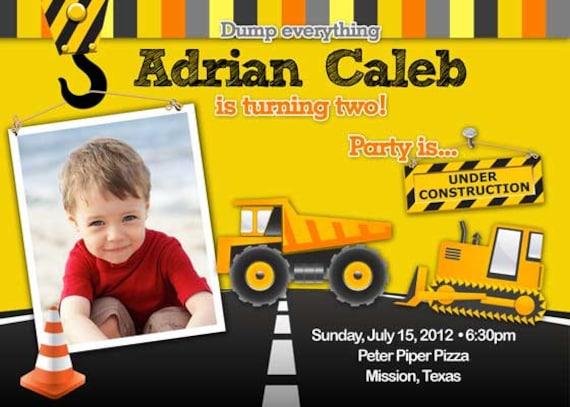 Birthday Party Invitation - Construction for boy Photo- DIY Printable - Dump Truck Yellow