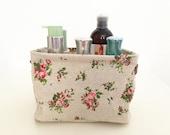 Desk Organizer-Flowers- Linen Fabric Basket, linen bin,  desk organizer, leather handler, nature, waterproof