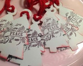 Tree Shaped Christmas Tags, Set of six, beautiful.