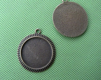 30mm Pendant Trays Antique Bronze Brass, 30mm Cabochon Settings, Round Pendant Blank,30mm Cameo Base Setting,  fit 30mm image 10pcs