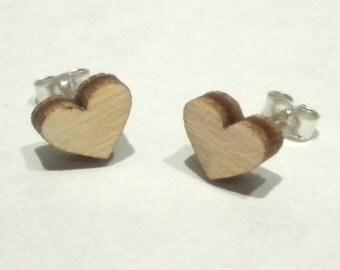 Wood Heart Studs