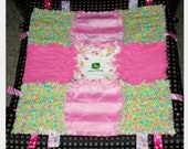 Baby Rib Rag Quilt Comfort Blanket JOHN DEERE and Flowers Baby Girl Gift