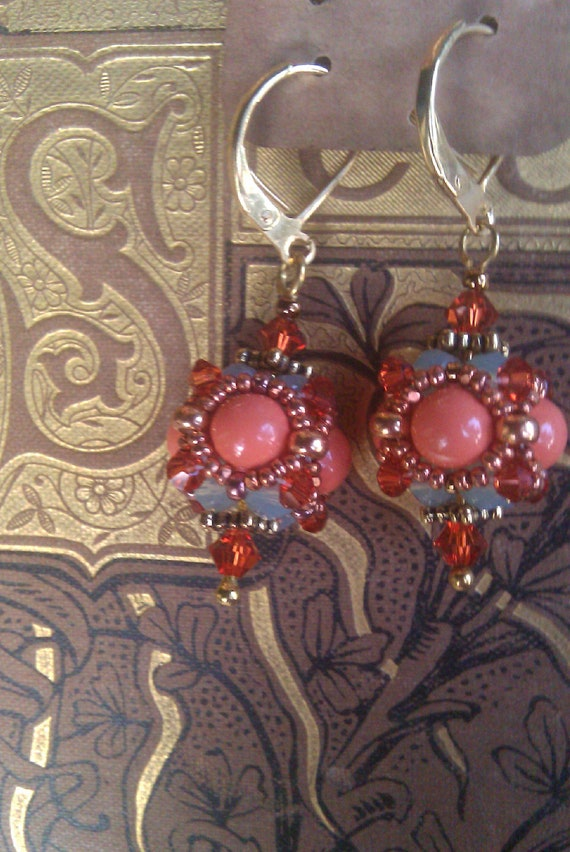 Beaded Bead Earrings in Coral, Pacific Opal and Indian Red