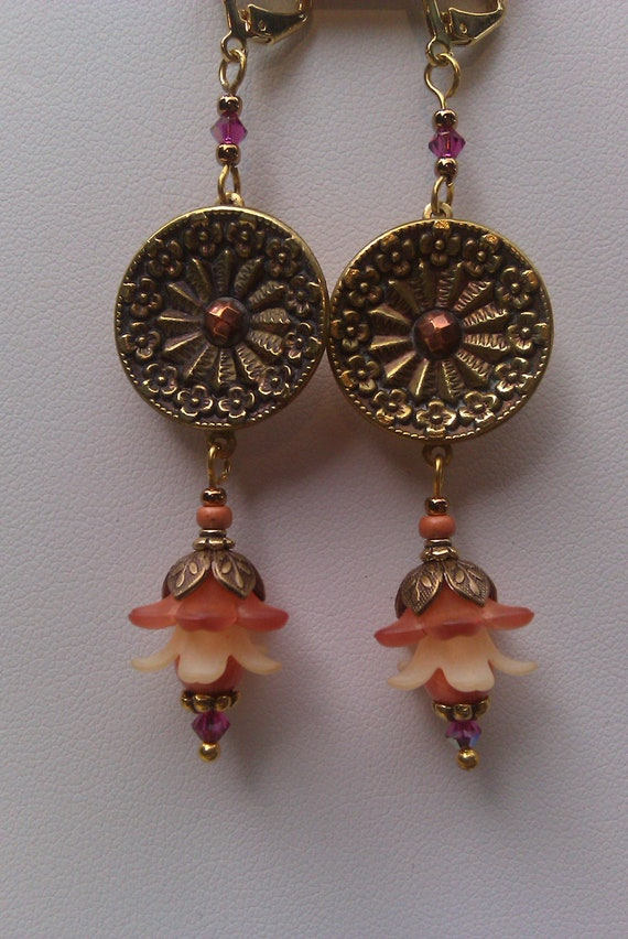Antique Button and Vintage Lucite flower Earrings