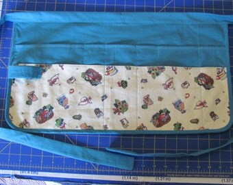 turquoise and garden theme fabric half apron