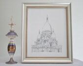 Sacre Coeur Art - Print of my original Hand Drawn Ink Art Paris France Bastille Day