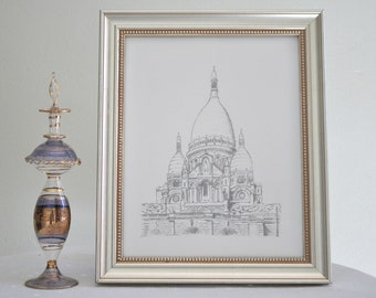 Sacre Coeur Art - Print of my original Hand Drawn Ink Art Paris France Bastille Day