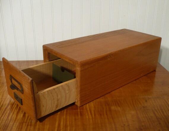 vintage oak library index card catalog file box by actionltd