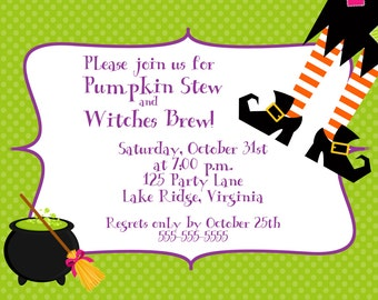 Printable Witches Brew Halloween Party Invitation