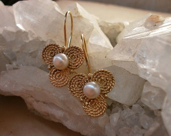sterling silver plated with gold Filigree pearl gold earrings