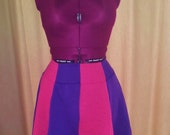 Upcycled Deep Hot Pink and Purple Paneled Skirt
