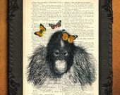 monkey baby print orange butterflies baby orang utan on dictionary page monkey illustration french book page book print