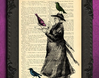 Preacher gift, pastor gift, antique print of pastor with birds wall art