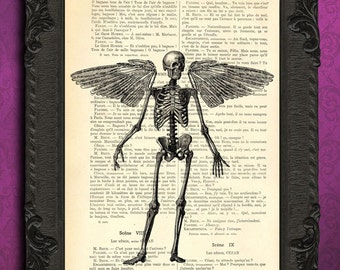 Gothic angel skeleton - angel wing art, vintage dictionary print - dictionary art print upcycled antique book page GOTHIC print