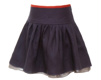 Linen twirling Skirt with underskirt - BLUE