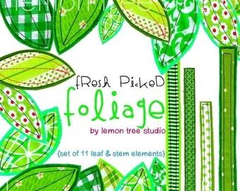 Digital Clip Art -- Fresh Picked Foliage (Instant Download)