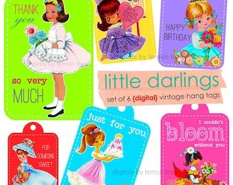 Printable Hang Tags -- Little Darlings Vintage Girls Digitals (Instant Download)