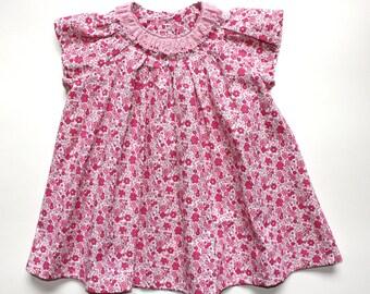 Summer girls dress and panama set D22  baby pink flowers beach birthday /rusteam/ team madcap/