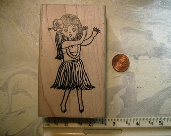 Cute Hula girl grass skirt rubber stamp wood mounted scrapbooking rubber stamping Hawaii