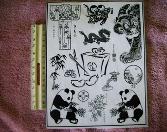 kimono, asian panda, bamboo, take out box fortune cookie  rubber stamp un-mounted scrapbooking rubber stamping