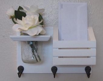 Shabby Chic Nautical Beach Cottage Flower Vase Key ring LARGE Mail holder Coat Towel Hat Rack Hanger Hooks in Whisper White